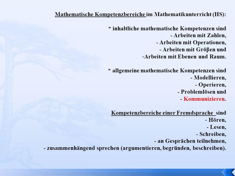 Mathematische Kompetenzbereiche im Mathematikunterricht (HS):