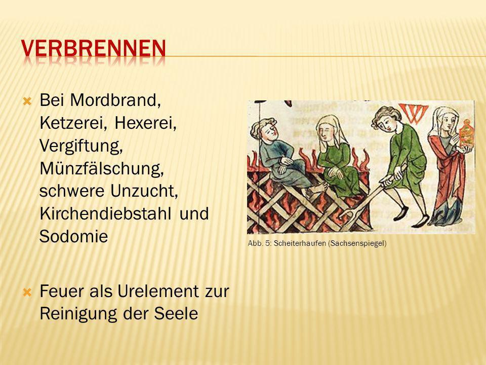 Verbrennen Bei Mordbrand, Ketzerei, Hexerei, Vergiftung, Münzfälschung, schwere Unzucht, Kirchendiebstahl und Sodomie.