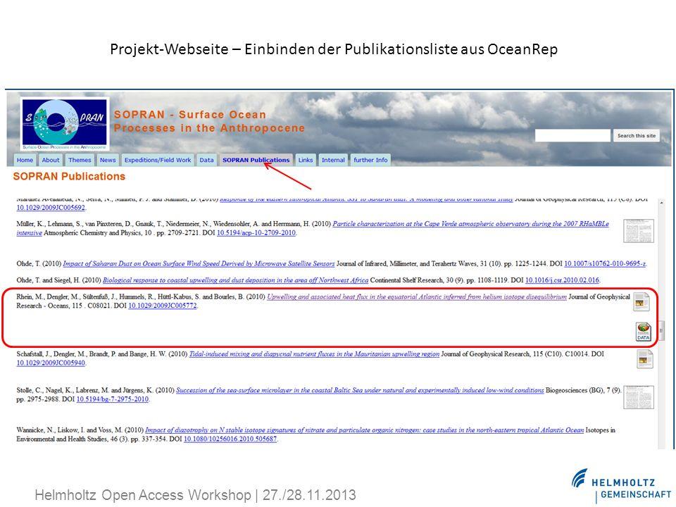 Projekt-Webseite – Einbinden der Publikationsliste aus OceanRep