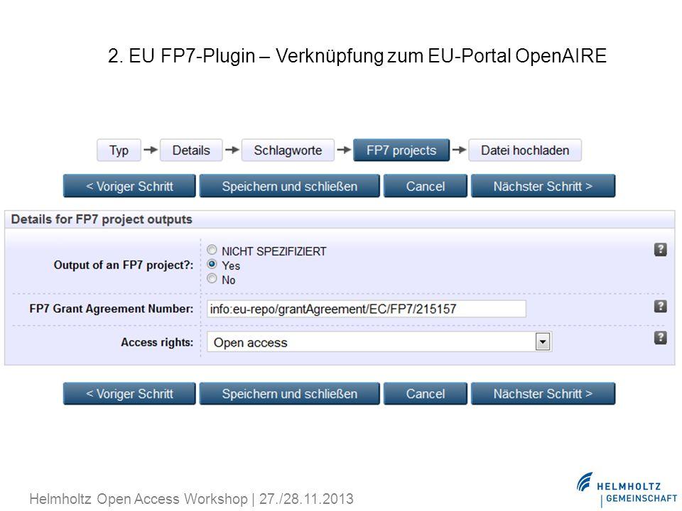 2. EU FP7-Plugin – Verknüpfung zum EU-Portal OpenAIRE
