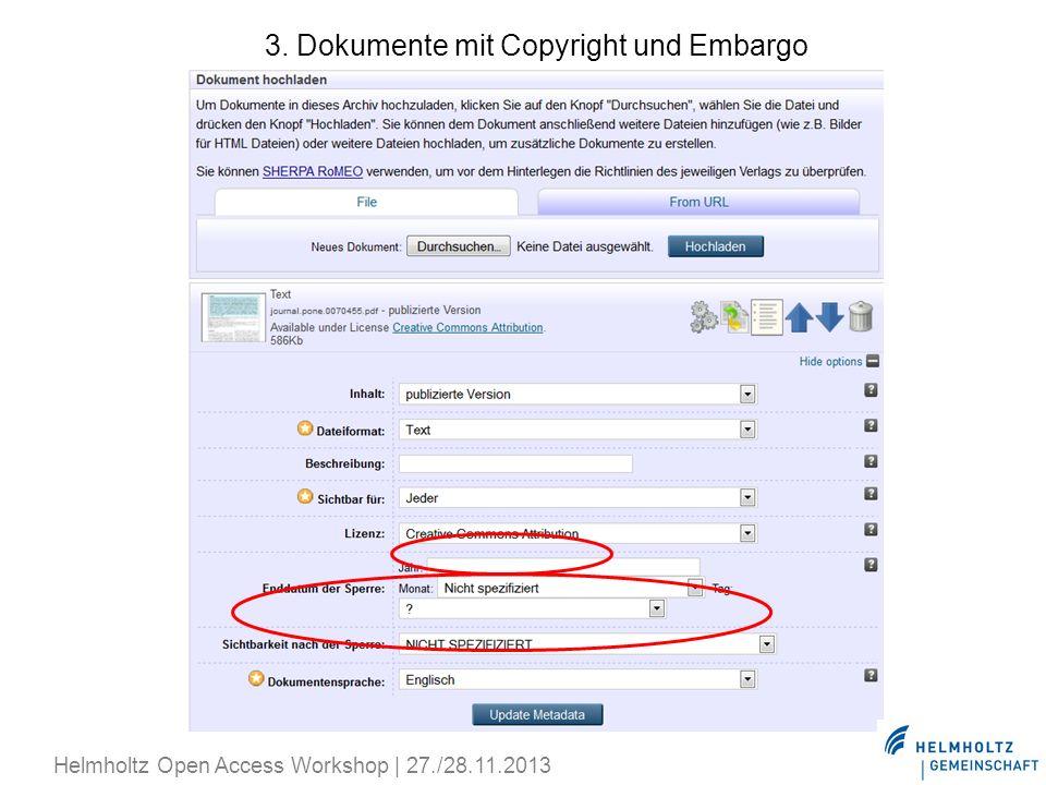 3. Dokumente mit Copyright und Embargo