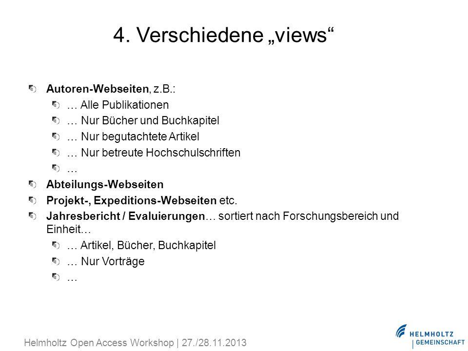 """4. Verschiedene """"views Autoren-Webseiten, z.B.: … Alle Publikationen"""