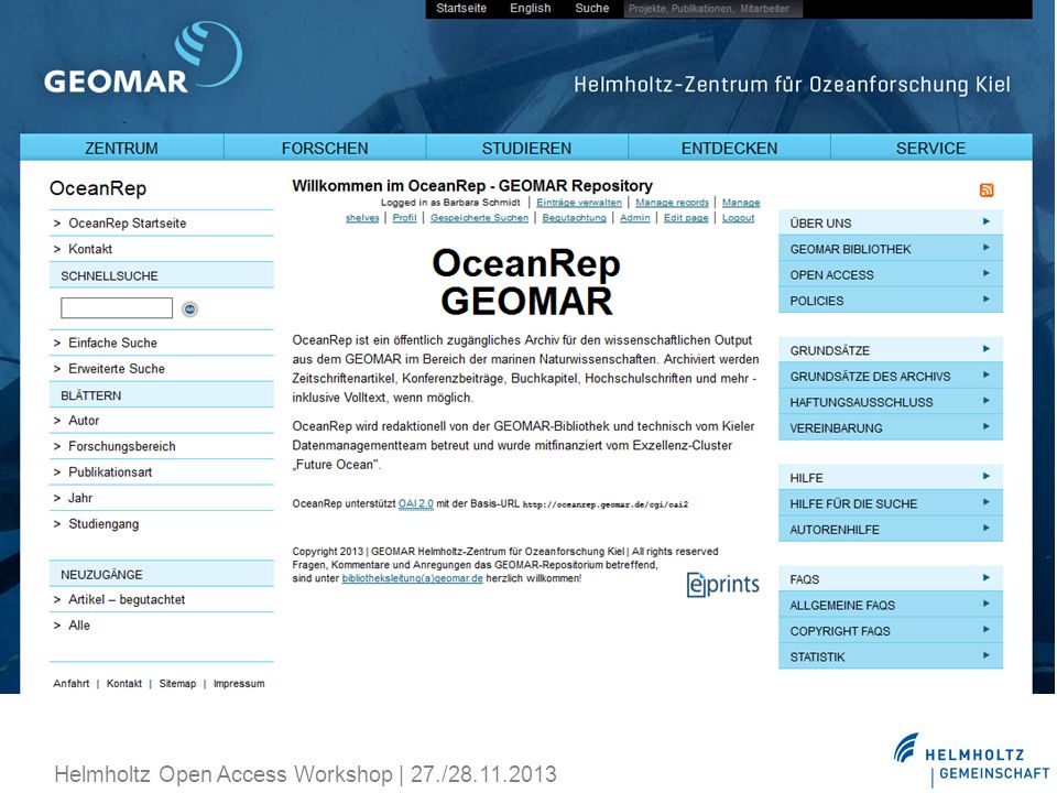 Helmholtz Open Access Workshop | 27./