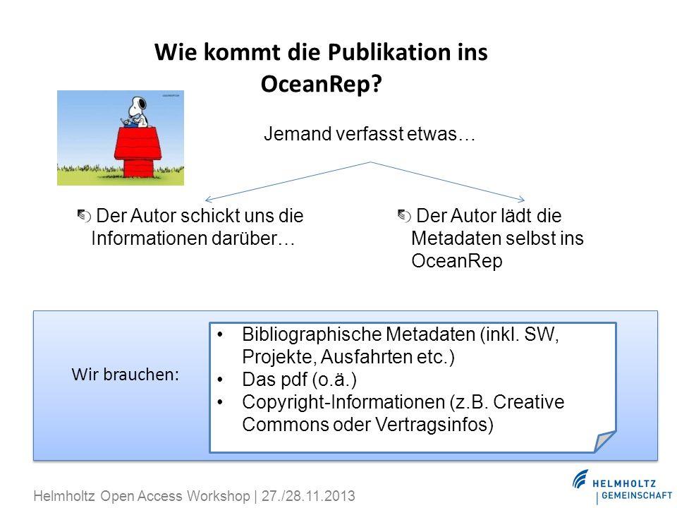 Wie kommt die Publikation ins OceanRep