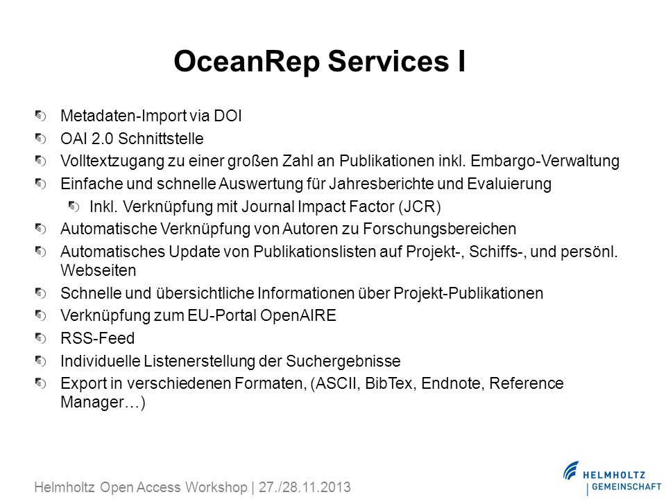 OceanRep Services I Metadaten-Import via DOI OAI 2.0 Schnittstelle