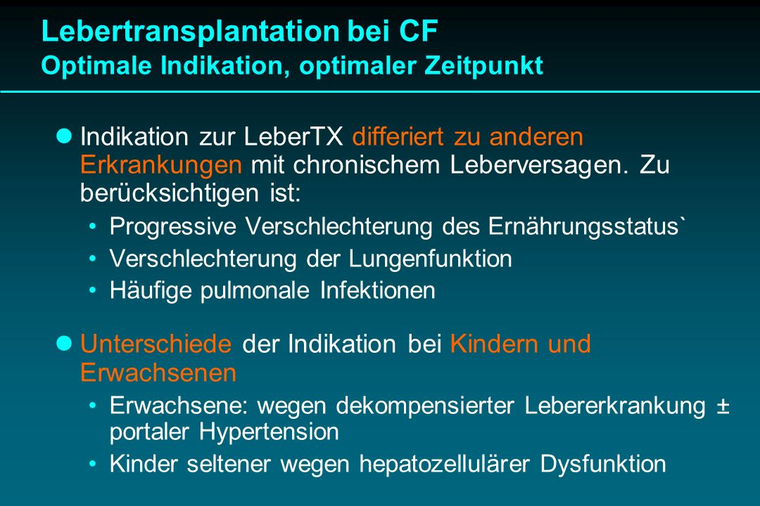 Lebertransplantation bei CF