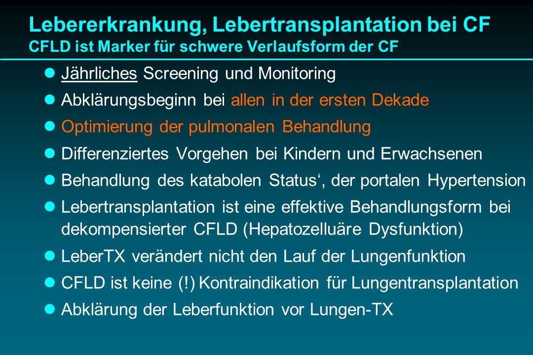 Lebererkrankung, Lebertransplantation bei CF CFLD ist Marker für schwere Verlaufsform der CF