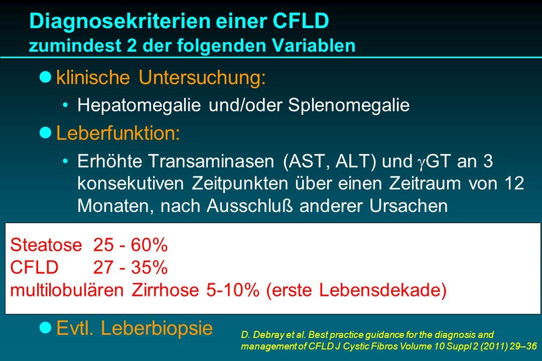 Diagnosekriterien einer CFLD zumindest 2 der folgenden Variablen