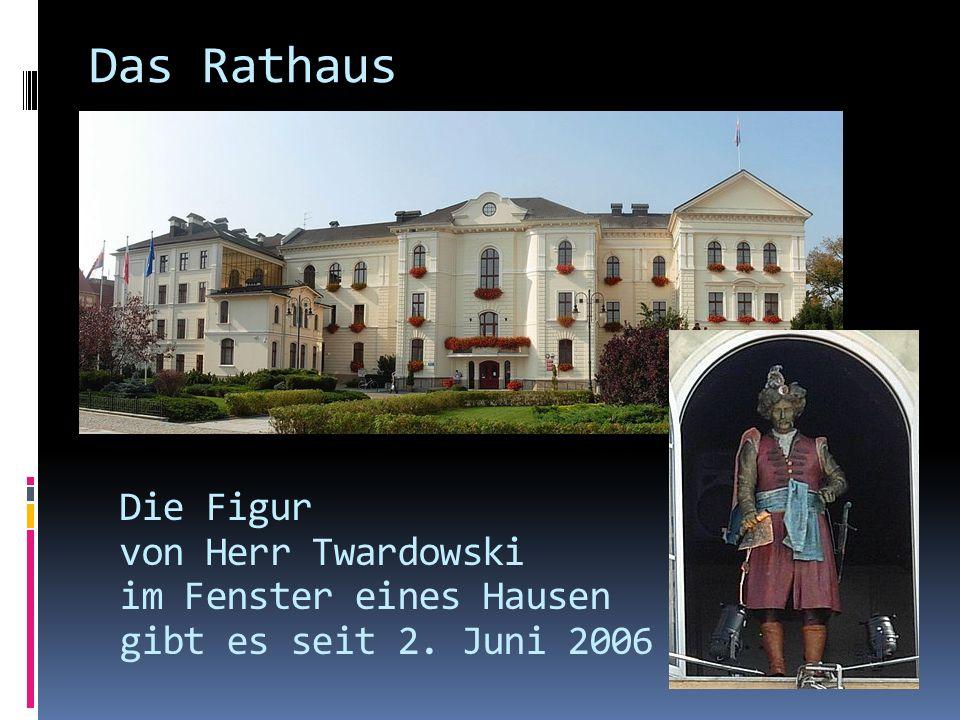 Das Rathaus Die Figur von Herr Twardowski im Fenster eines Hausen