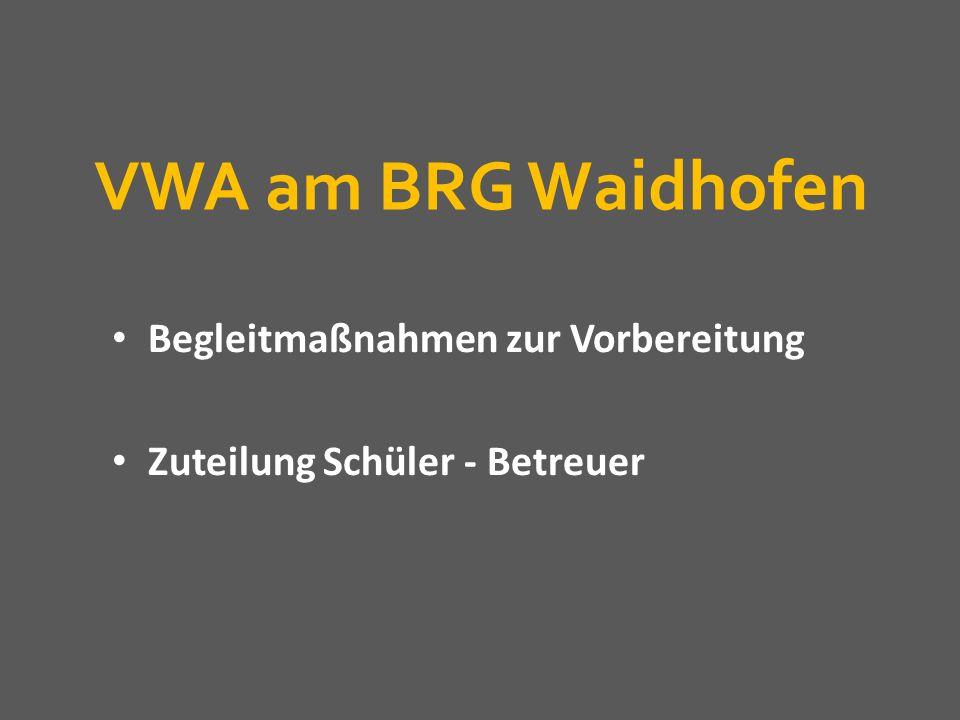 VWA am BRG Waidhofen Begleitmaßnahmen zur Vorbereitung