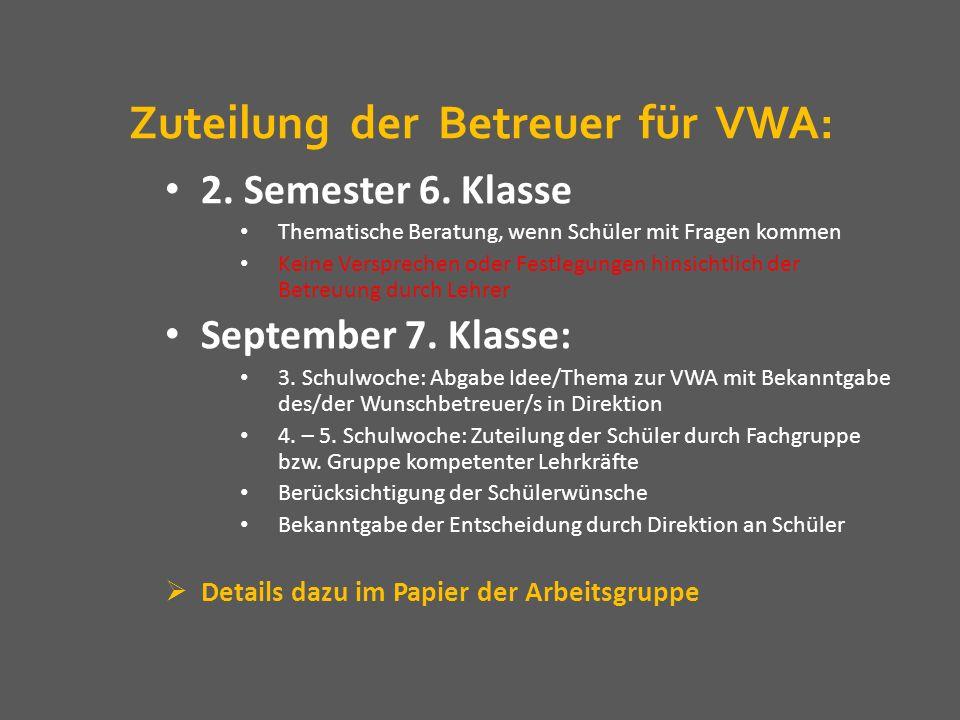 Zuteilung der Betreuer für VWA: