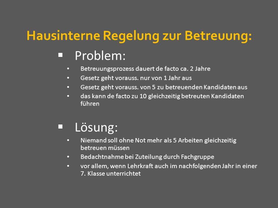 Hausinterne Regelung zur Betreuung:
