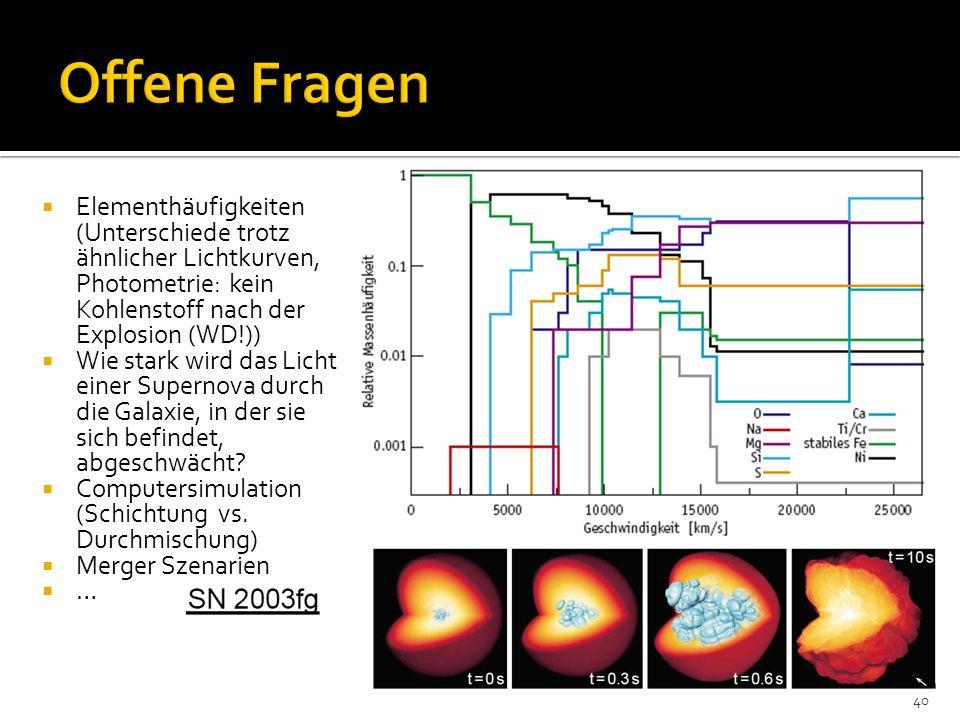 Offene Fragen Elementhäufigkeiten (Unterschiede trotz ähnlicher Lichtkurven, Photometrie: kein Kohlenstoff nach der Explosion (WD!))