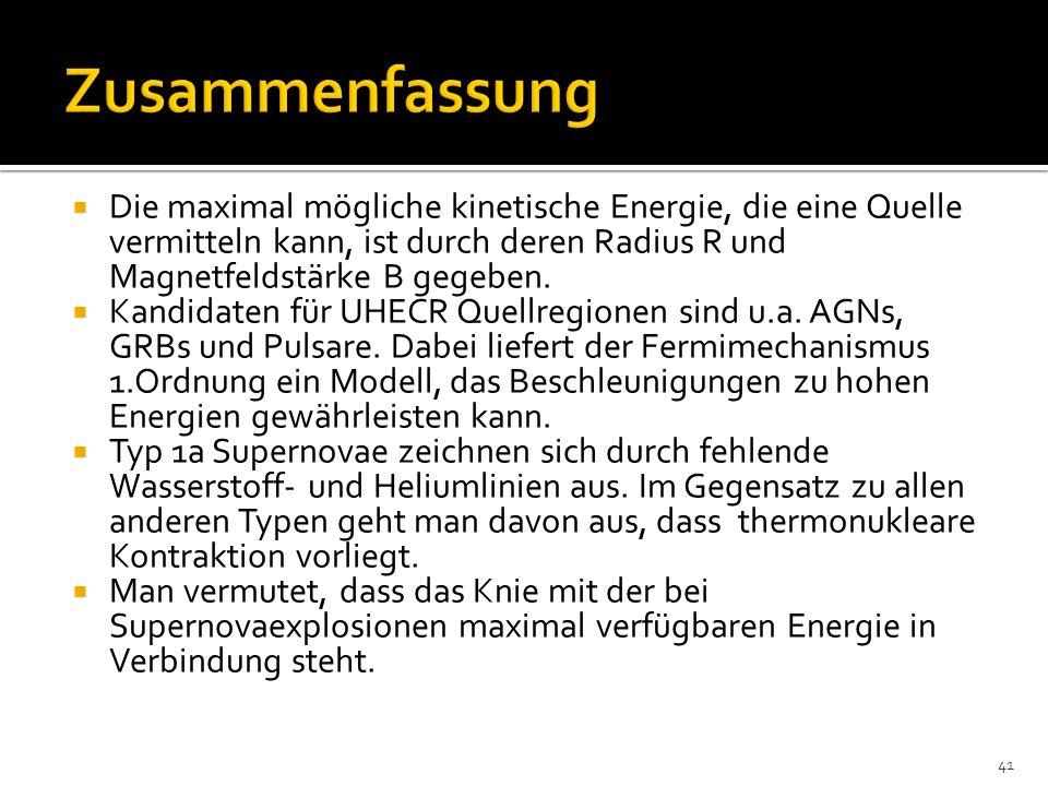 Zusammenfassung Die maximal mögliche kinetische Energie, die eine Quelle vermitteln kann, ist durch deren Radius R und Magnetfeldstärke B gegeben.