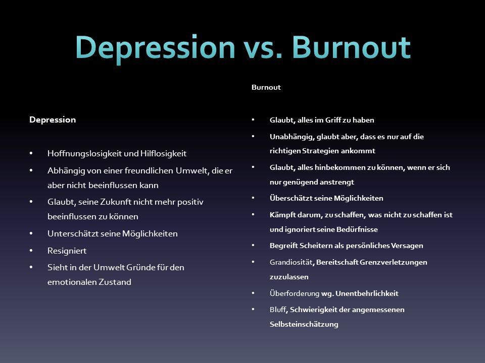 Depression vs. Burnout Depression Hoffnungslosigkeit und Hilflosigkeit
