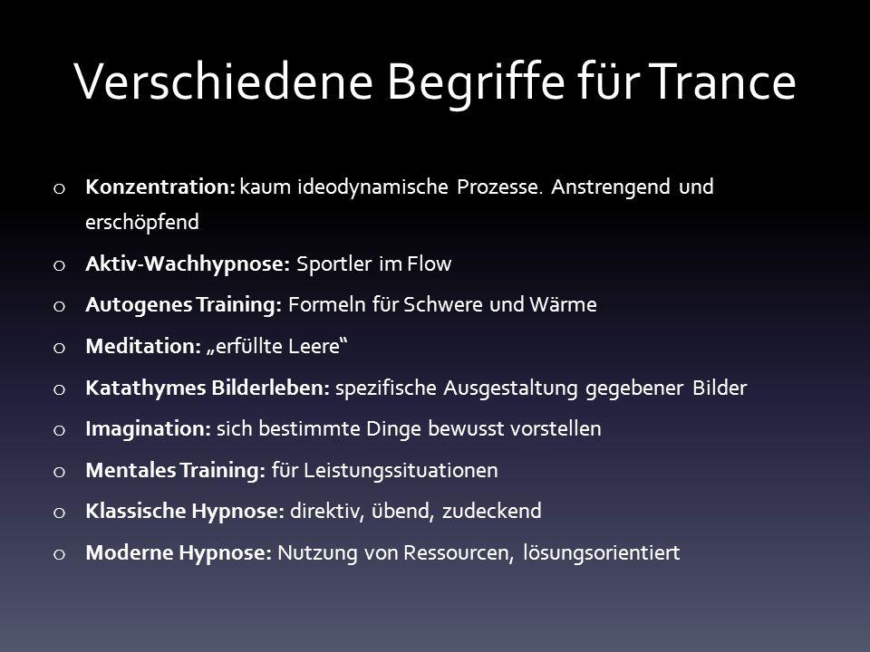 Verschiedene Begriffe für Trance