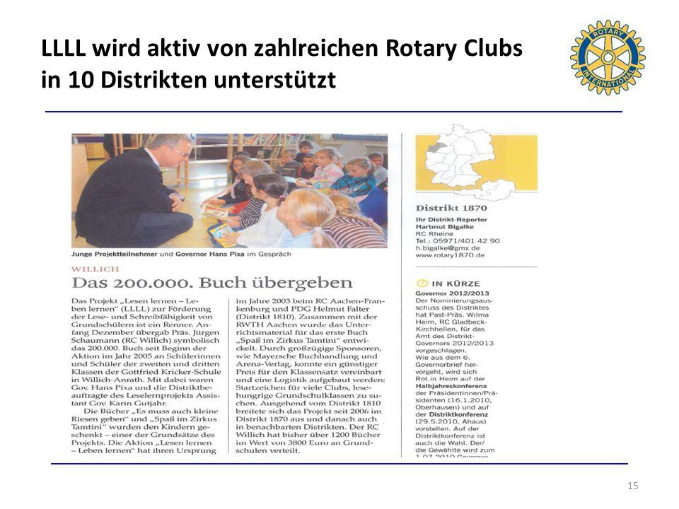 LLLL wird aktiv von zahlreichen Rotary Clubs in 10 Distrikten unterstützt