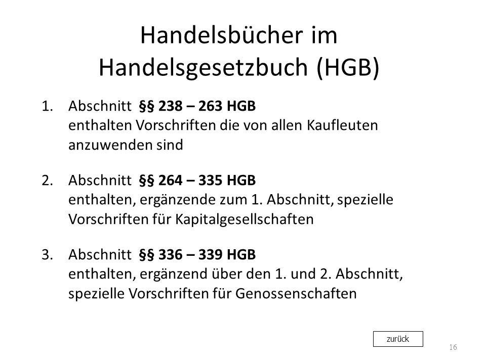 Handelsbücher im Handelsgesetzbuch (HGB)