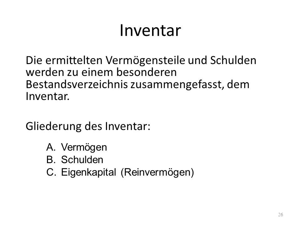 Inventar Die ermittelten Vermögensteile und Schulden werden zu einem besonderen Bestandsverzeichnis zusammengefasst, dem Inventar.