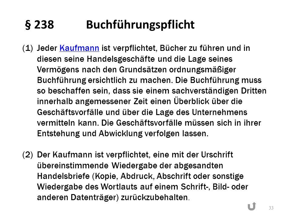 § 238 Buchführungspflicht