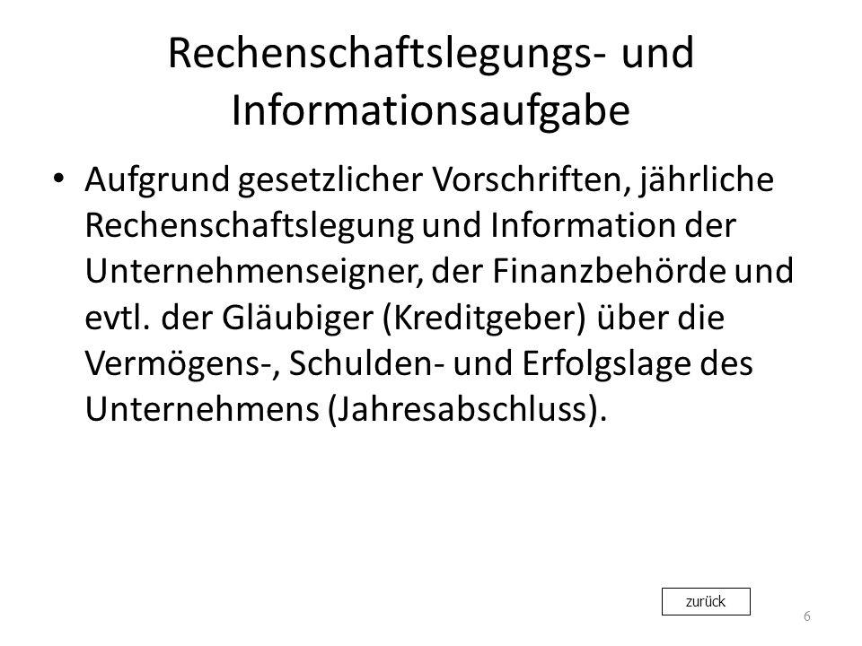 Rechenschaftslegungs- und Informationsaufgabe