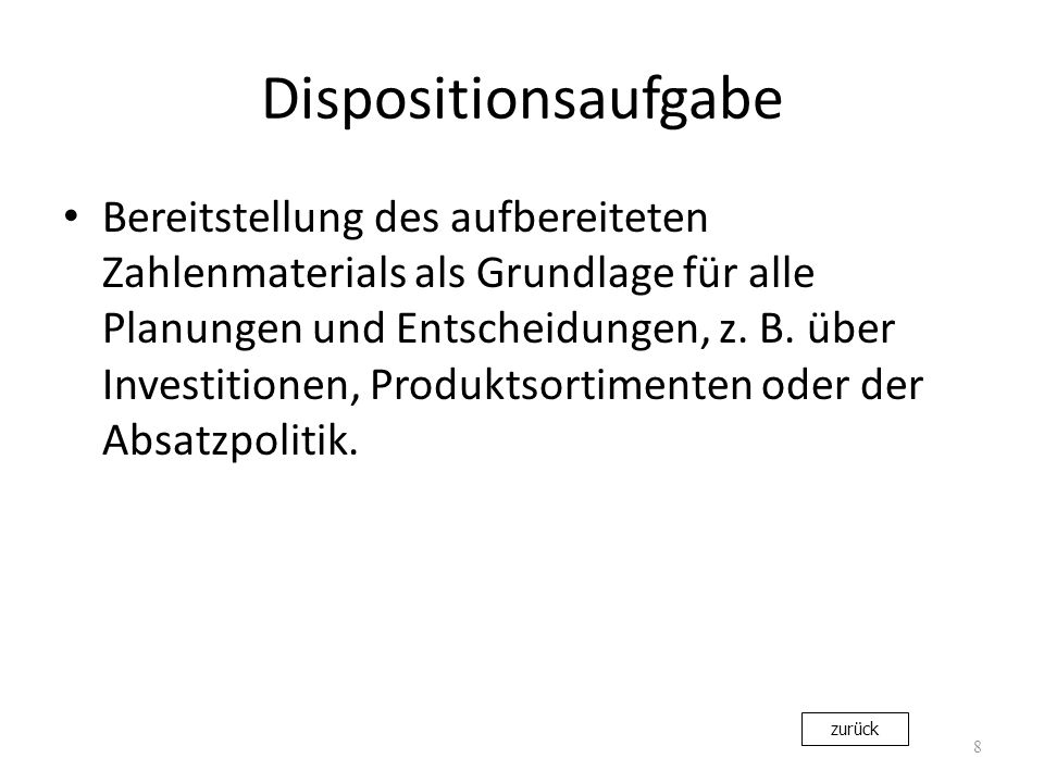 Dispositionsaufgabe
