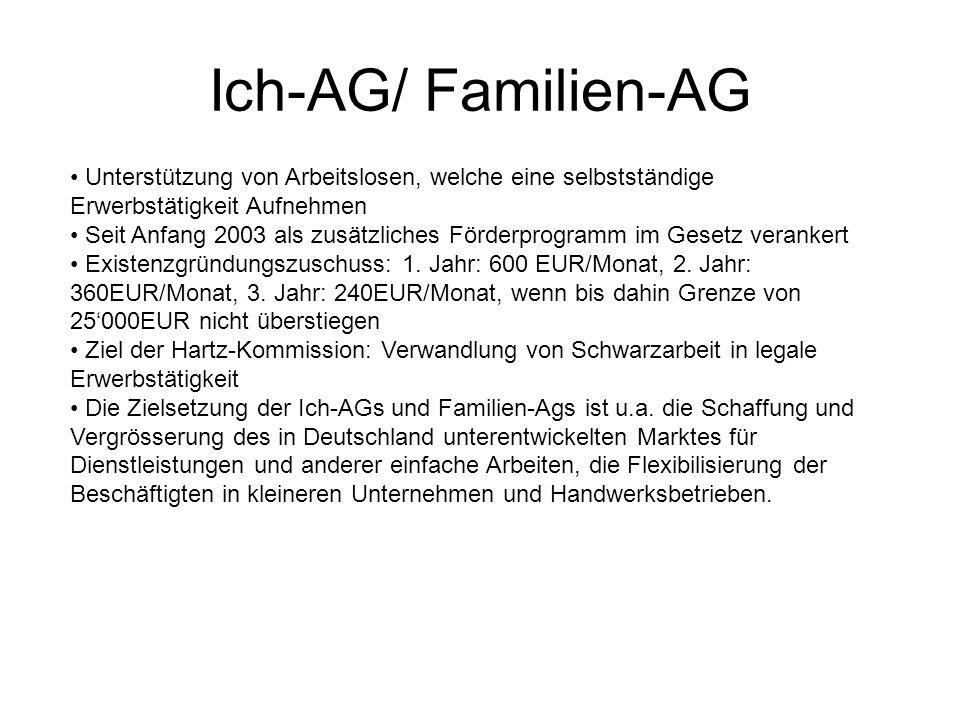 Ich-AG/ Familien-AG Unterstützung von Arbeitslosen, welche eine selbstständige Erwerbstätigkeit Aufnehmen.