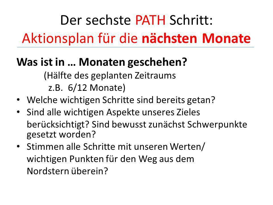 Der sechste PATH Schritt: Aktionsplan für die nächsten Monate