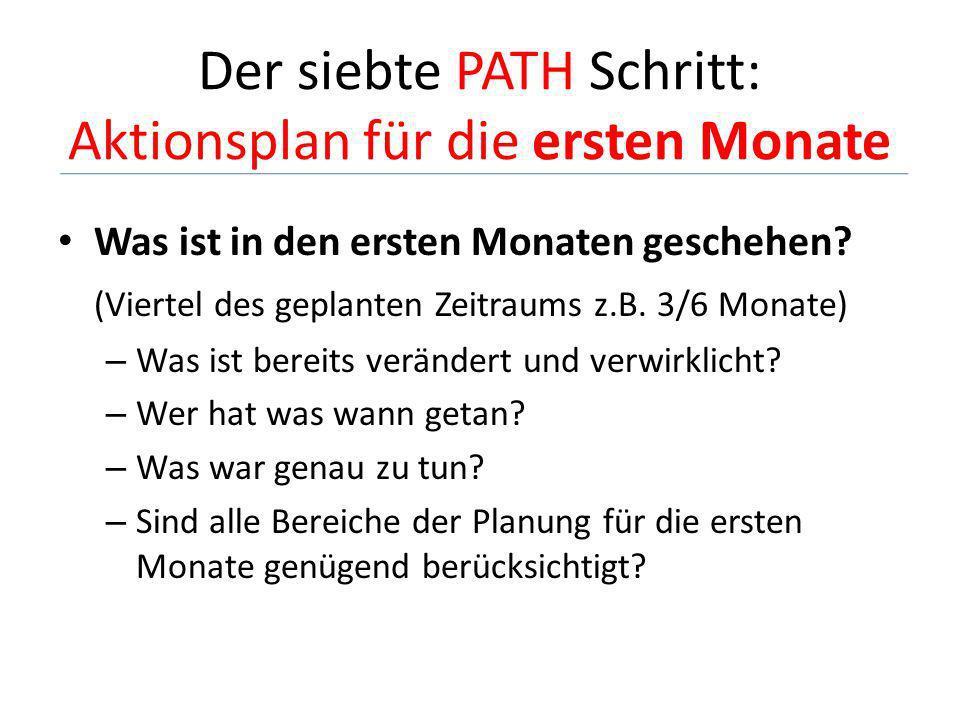 Der siebte PATH Schritt: Aktionsplan für die ersten Monate
