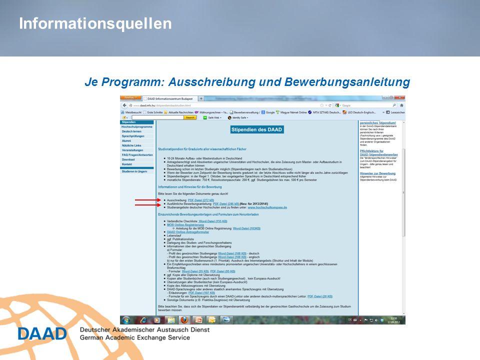 Je Programm: Ausschreibung und Bewerbungsanleitung
