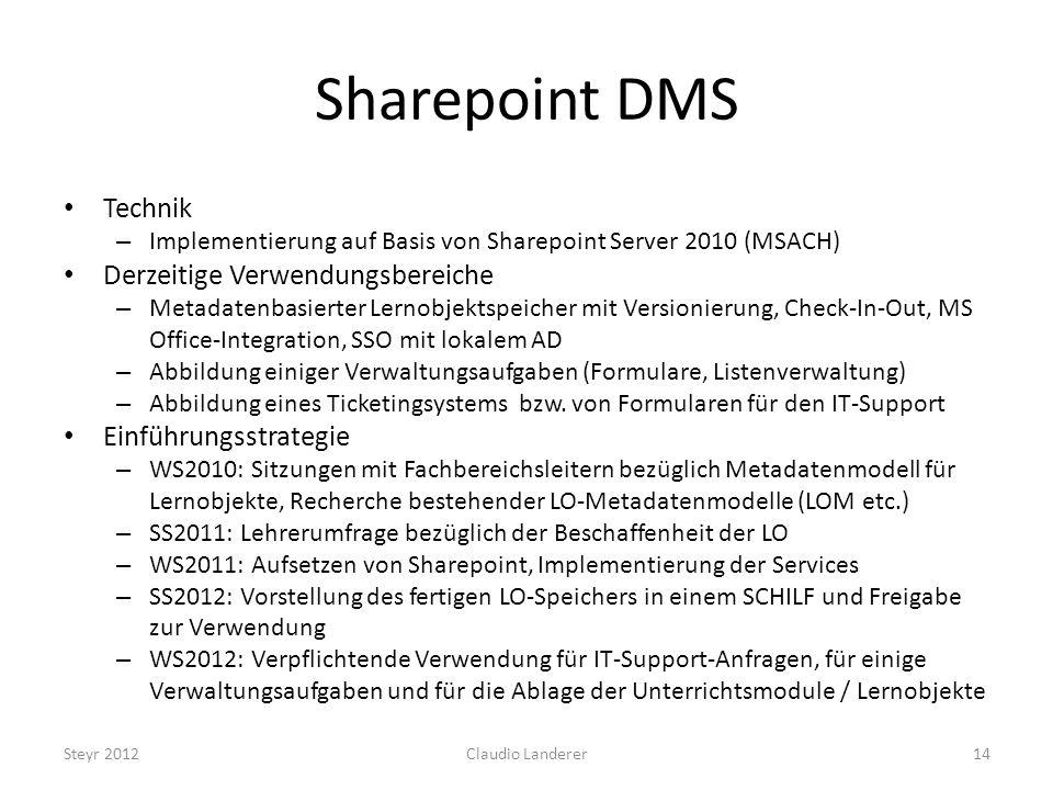 Sharepoint DMS Technik Derzeitige Verwendungsbereiche