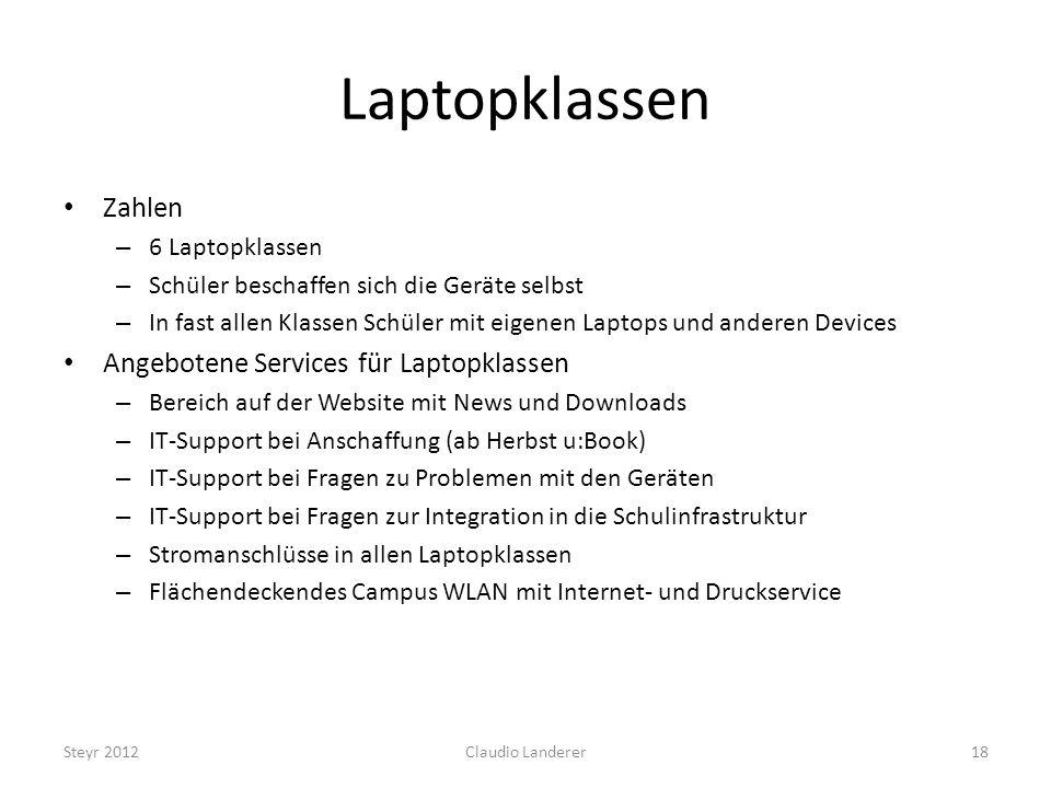 Laptopklassen Zahlen Angebotene Services für Laptopklassen
