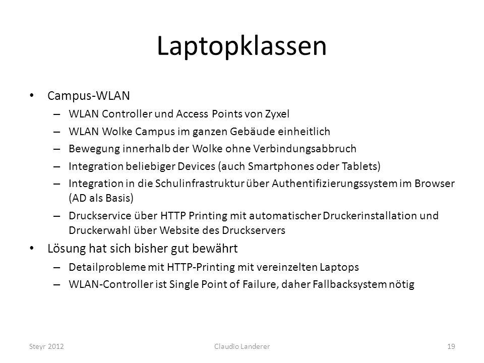 Laptopklassen Campus-WLAN Lösung hat sich bisher gut bewährt