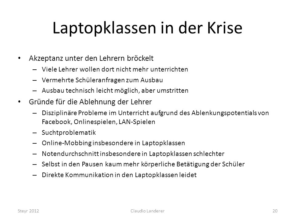 Laptopklassen in der Krise