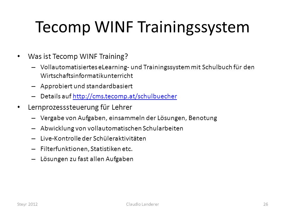 Tecomp WINF Trainingssystem