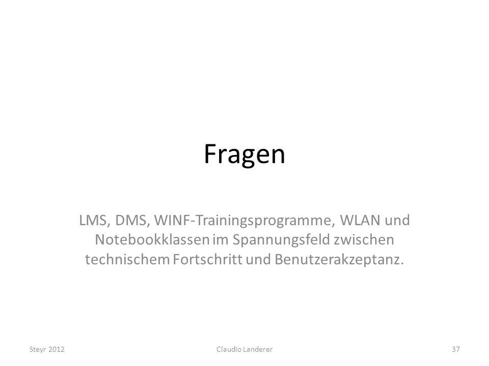 Fragen LMS, DMS, WINF-Trainingsprogramme, WLAN und Notebookklassen im Spannungsfeld zwischen technischem Fortschritt und Benutzerakzeptanz.
