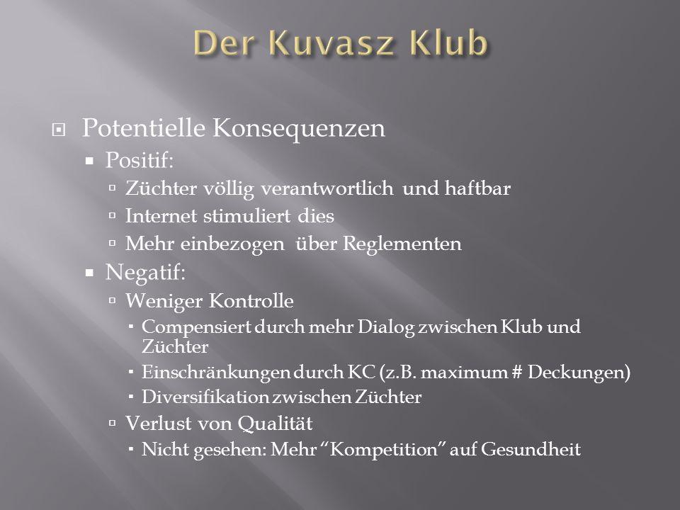 Der Kuvasz Klub Potentielle Konsequenzen Positif: Negatif: