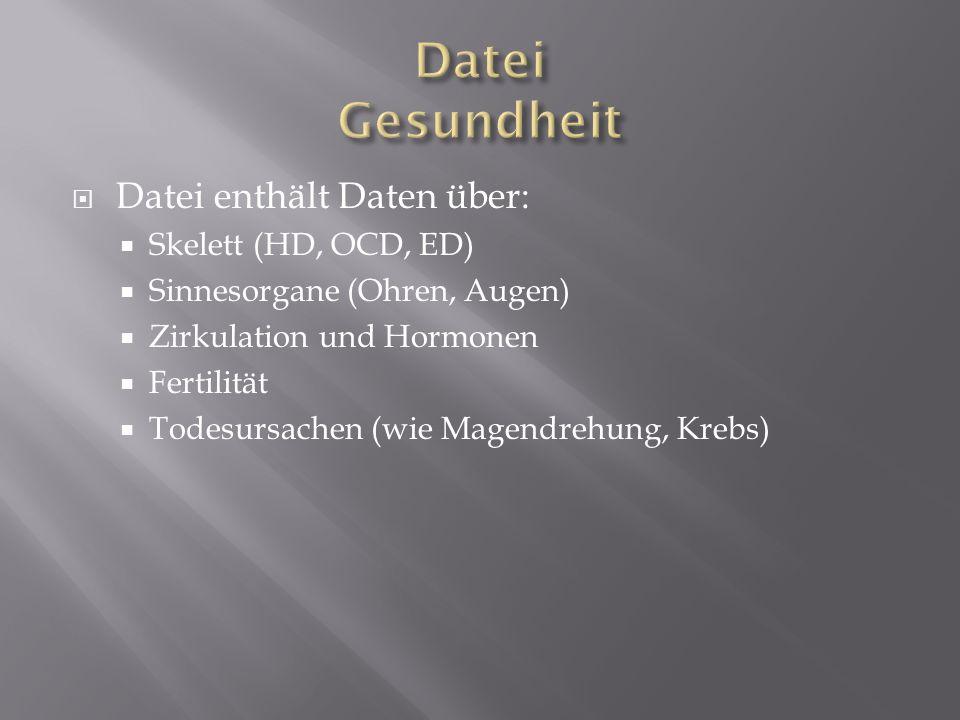 Datei Gesundheit Datei enthält Daten über: Skelett (HD, OCD, ED)