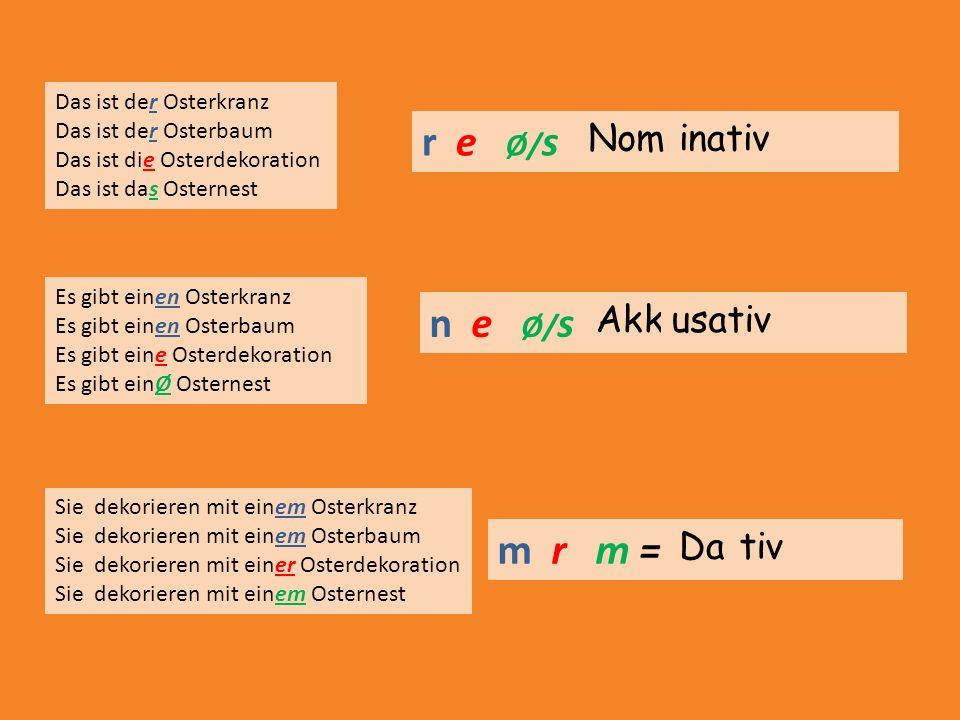 r e Ø/s = n e Ø/s = m r m = Nom inativ Akk usativ Da tiv
