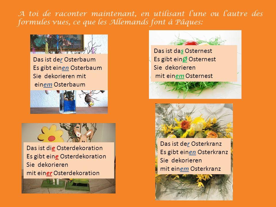 A toi de raconter maintenant, en utilisant l'une ou l'autre des formules vues, ce que les Allemands font à Pâques: