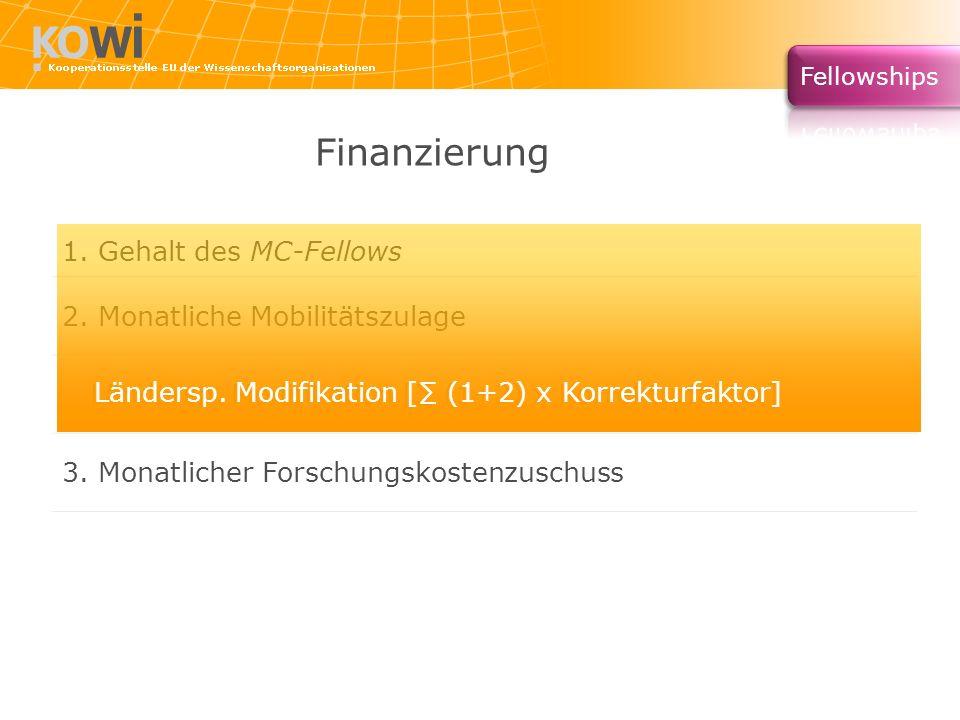 Finanzierung 1. Gehalt des MC-Fellows 2. Monatliche Mobilitätszulage