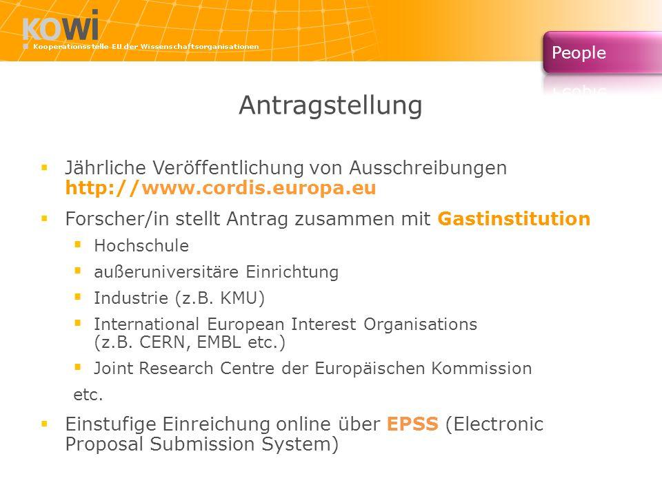 Antragstellung Jährliche Veröffentlichung von Ausschreibungen http://www.cordis.europa.eu. Forscher/in stellt Antrag zusammen mit Gastinstitution.