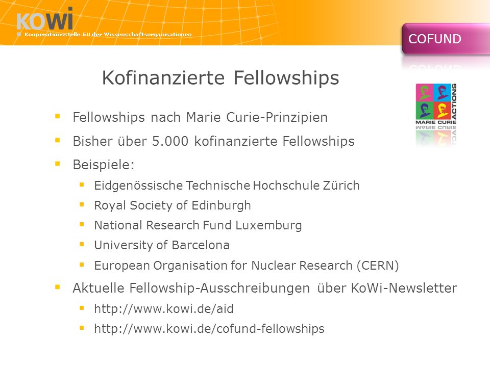 Kofinanzierte Fellowships