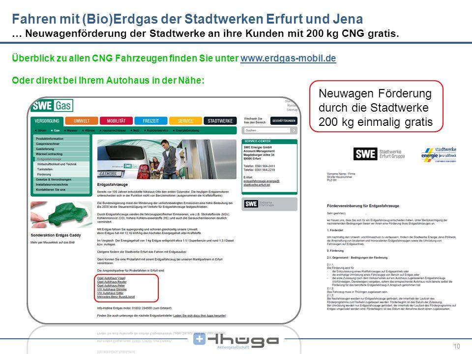 Fahren mit (Bio)Erdgas der Stadtwerken Erfurt und Jena … Neuwagenförderung der Stadtwerke an ihre Kunden mit 200 kg CNG gratis.