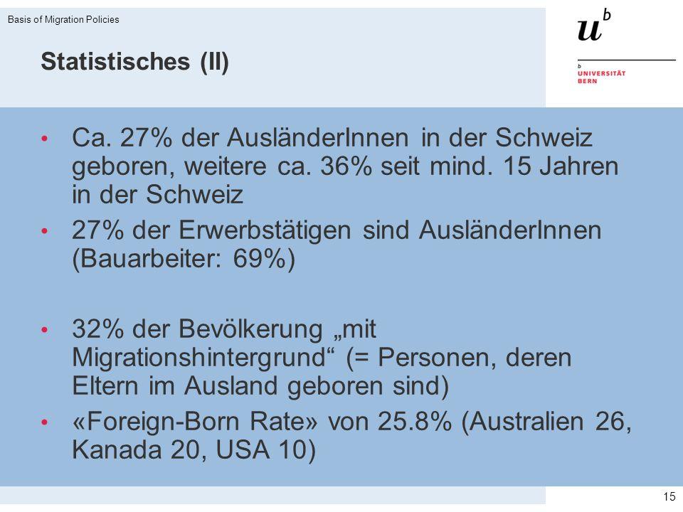 27% der Erwerbstätigen sind AusländerInnen (Bauarbeiter: 69%)