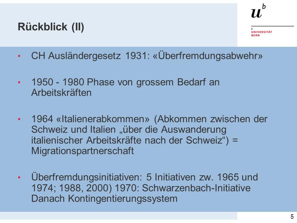 Rückblick (II) CH Ausländergesetz 1931: «Überfremdungsabwehr»