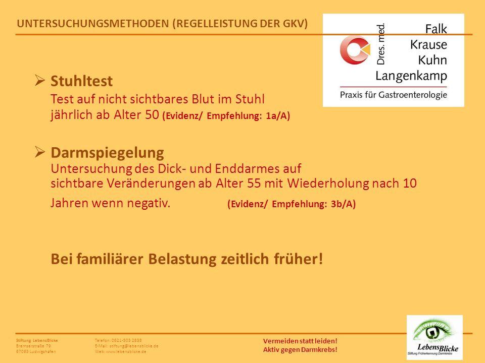 UNTERSUCHUNGSMETHODEN (REGELLEISTUNG DER GKV)