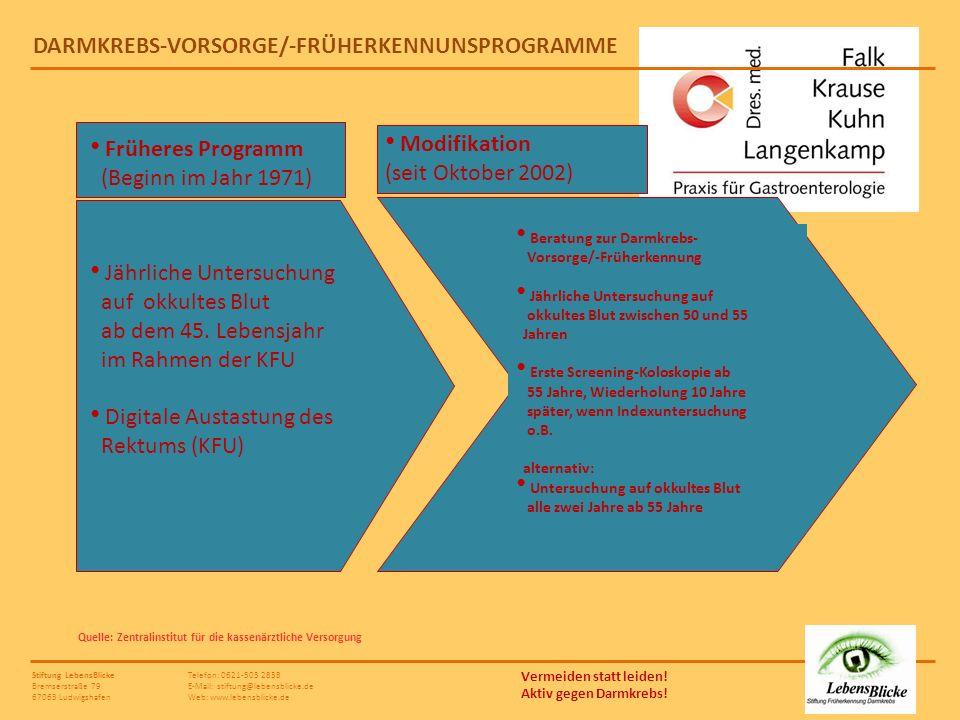 DARMKREBS-VORSORGE/-FRÜHERKENNUNSPROGRAMME