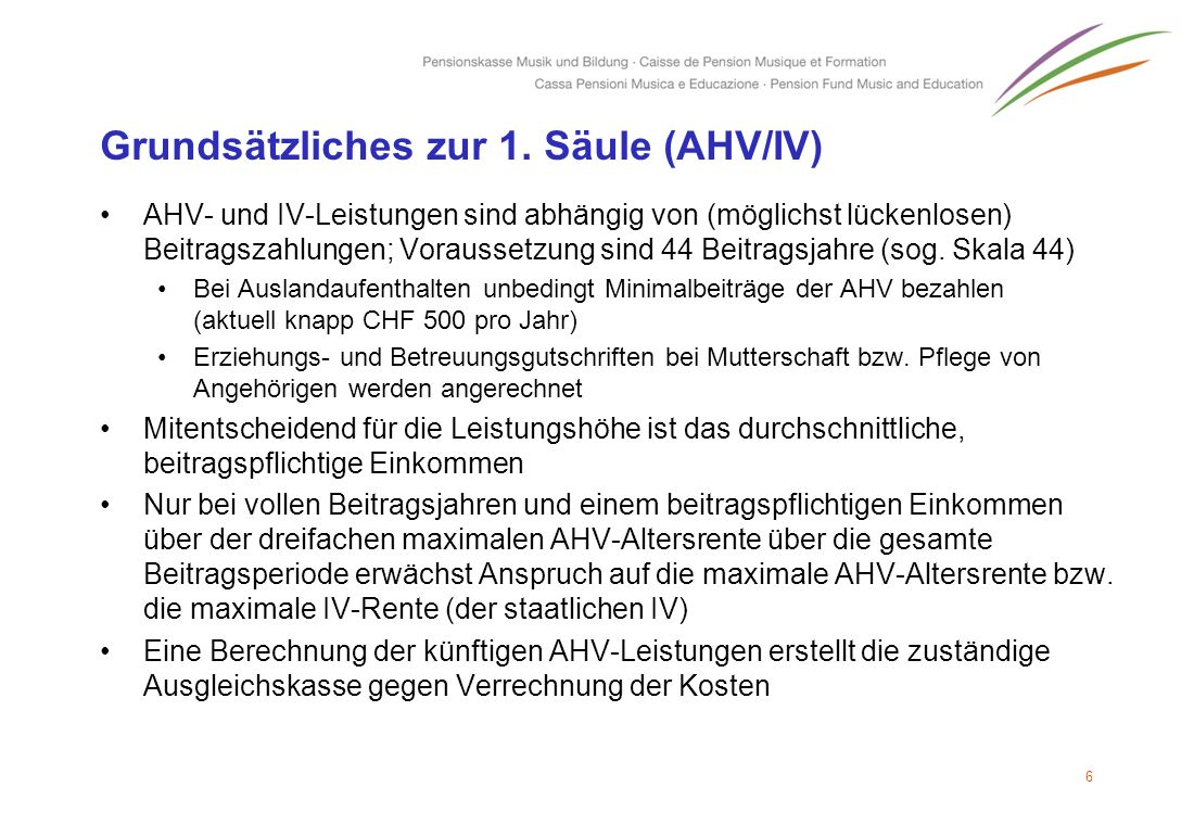 Grundsätzliches zur 1. Säule (AHV/IV)