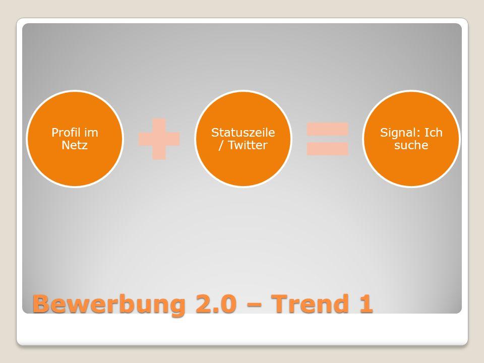 Bewerbung 2.0 – Trend 1 Profil im Netz Statuszeile / Twitter